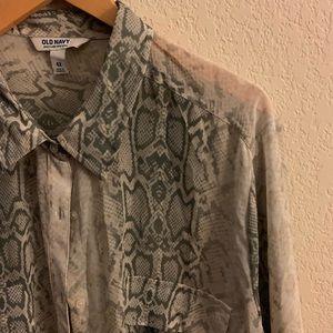 Grey Animal Print Silk Button Down